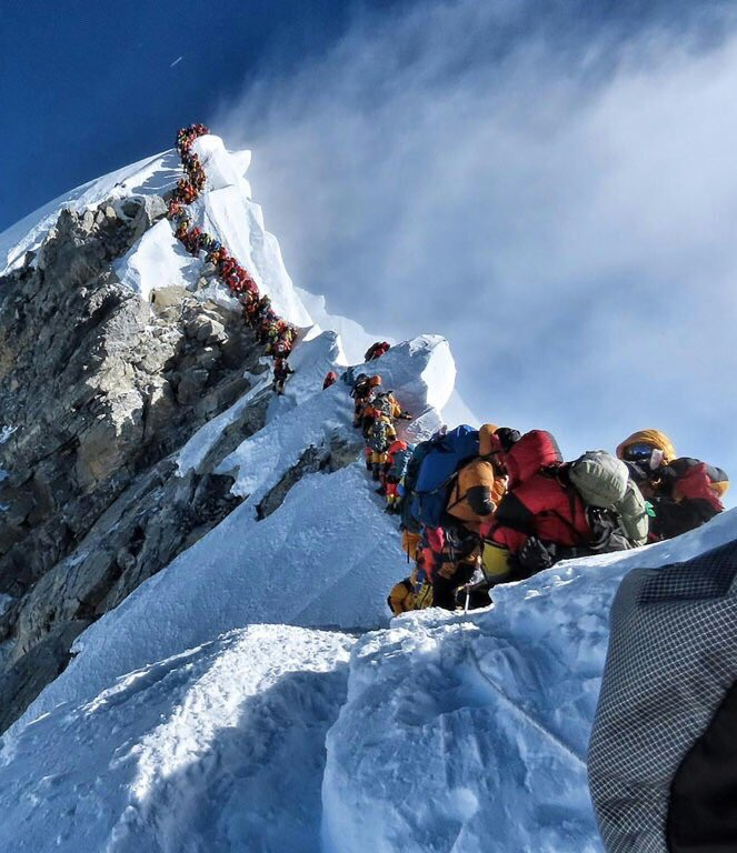 Yesterday on Everest. Nepal and Tibet/China need to limit the number of climbers on the mountain with a London Marathon style lottery for climbing permits.