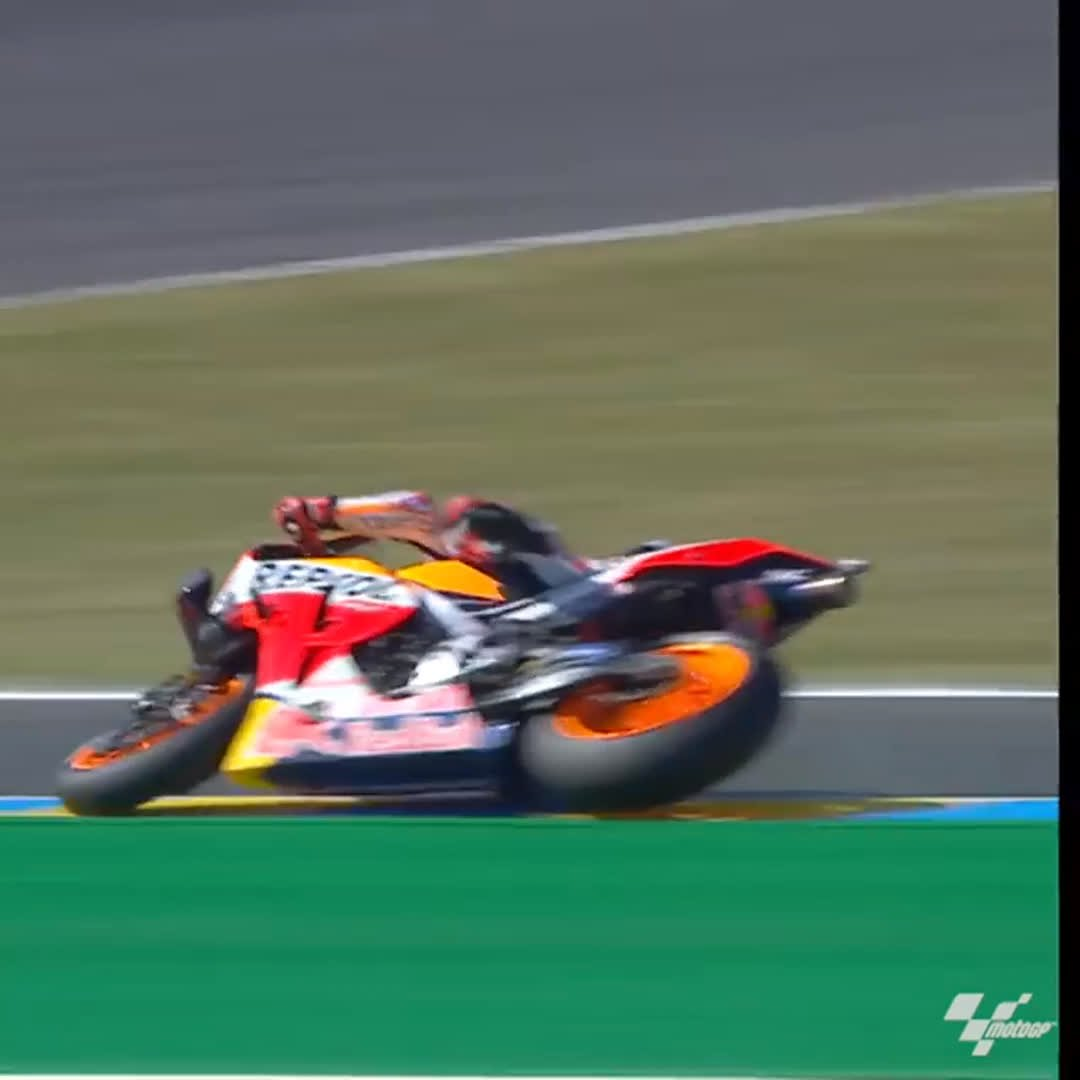 Let's just have another quick look at this from the #FrenchGP 👀  Nope. We're still not sure how Marc Márquez saved that! 👏  #ThrowbackThursday