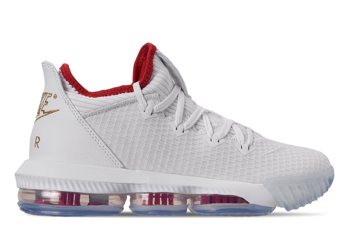 Nike LeBron 16 Low Release Date: May 24th, 2019 $160 Color: White/Metallic Gold-University Red Style Code: CI2668-100 bit.ly/1LLiD5N