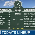 Here is today's #Cubs starting lineup.   Game preview: https://t.co/VcdopSNTSv #EverybodyIn