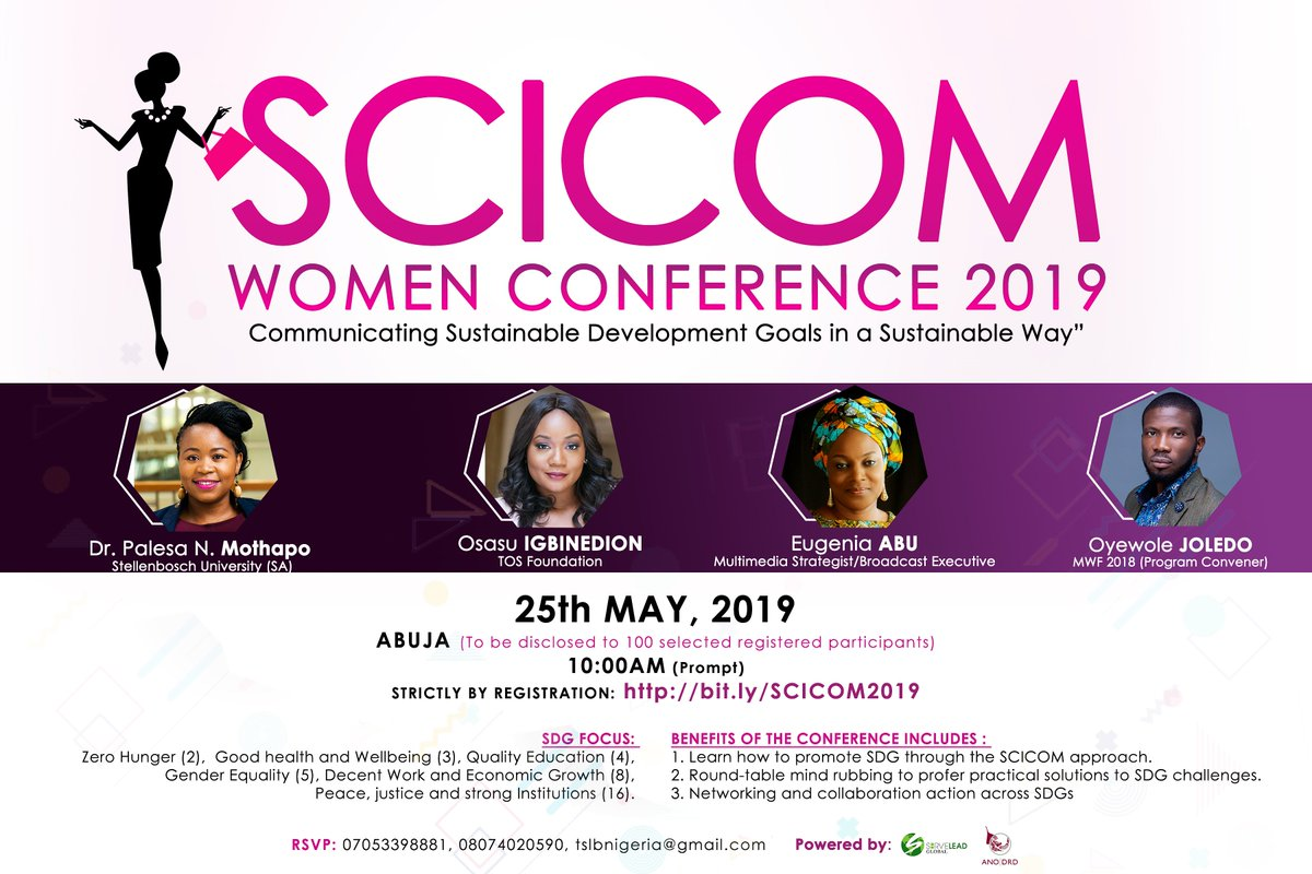 REGISTER NOW!!! ONE OPPORTUNITY, ONE EVENT! Sometimes, you can make a change by starting a movement and sometimes, by joining a movement. The SCICOM Women conference is reserved for aspiring LADIES!  #Thread #ThursdayThoughts #ThursdayMotivation #Soyinka #2baba #EqualityAdvocate pic.twitter.com/nAcFZcZbIQ