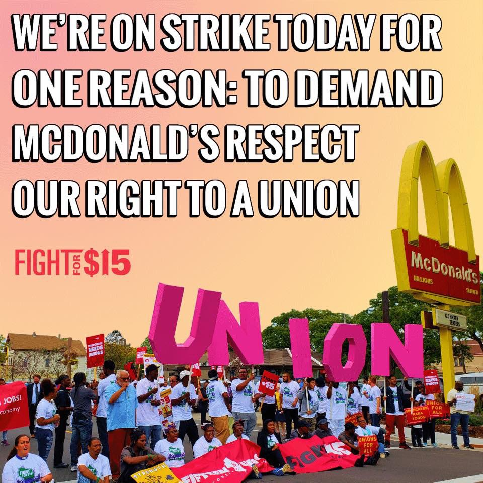 Stand with McDonald's workers. #FightFor15