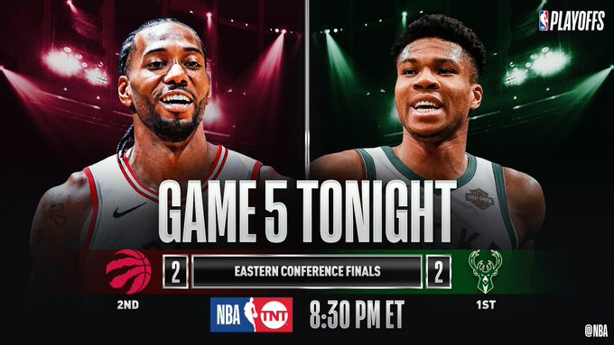 TONIGHT'S Eastern Conference Finals #NBAPlayoffs CLASH!  8:30pm/et: (2) TOR 2-2 (1) MIL, TNT