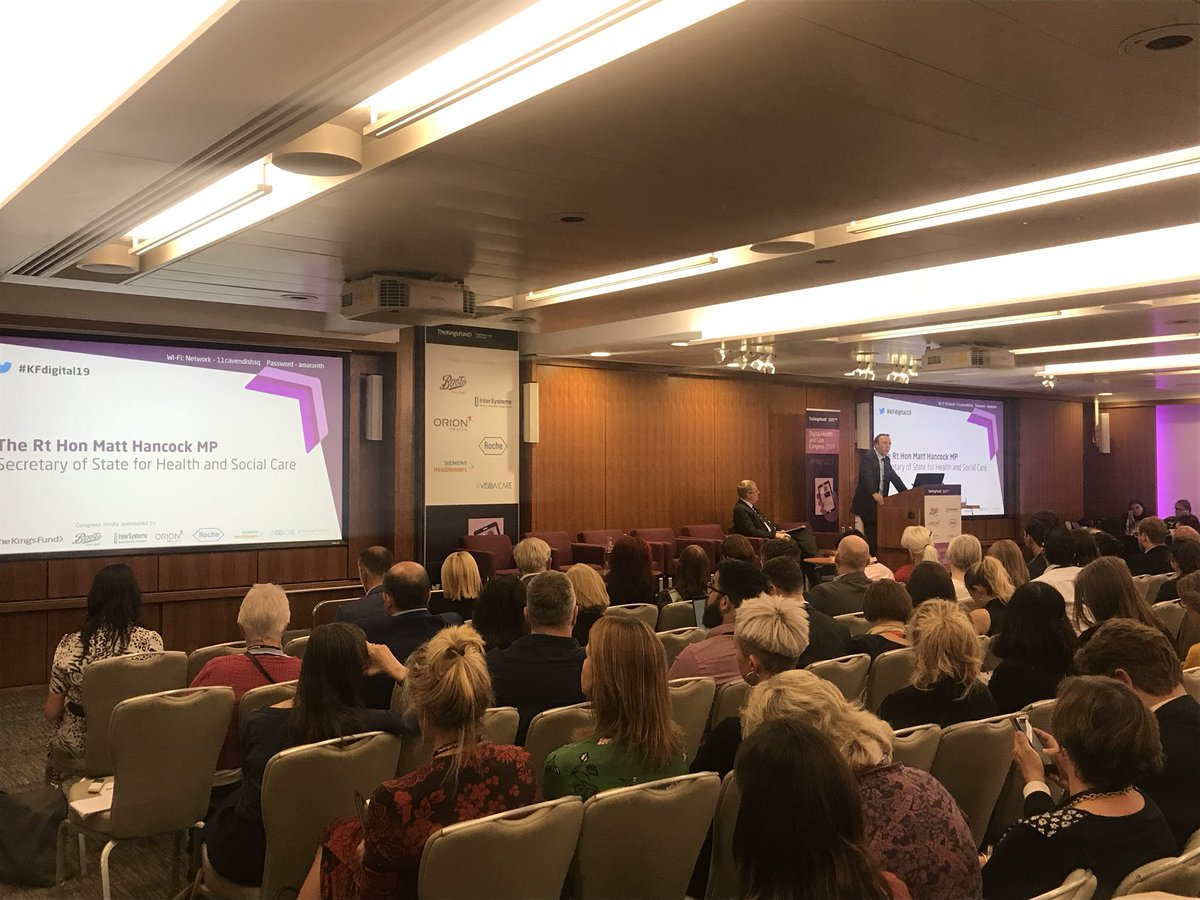 """#KFdigital19 @MattHancock discussing ways the future for patient medical records and improved data security - """"...sick patients shouldn't need to re-explain to new clinicians why they are there"""" (seeking help)"""