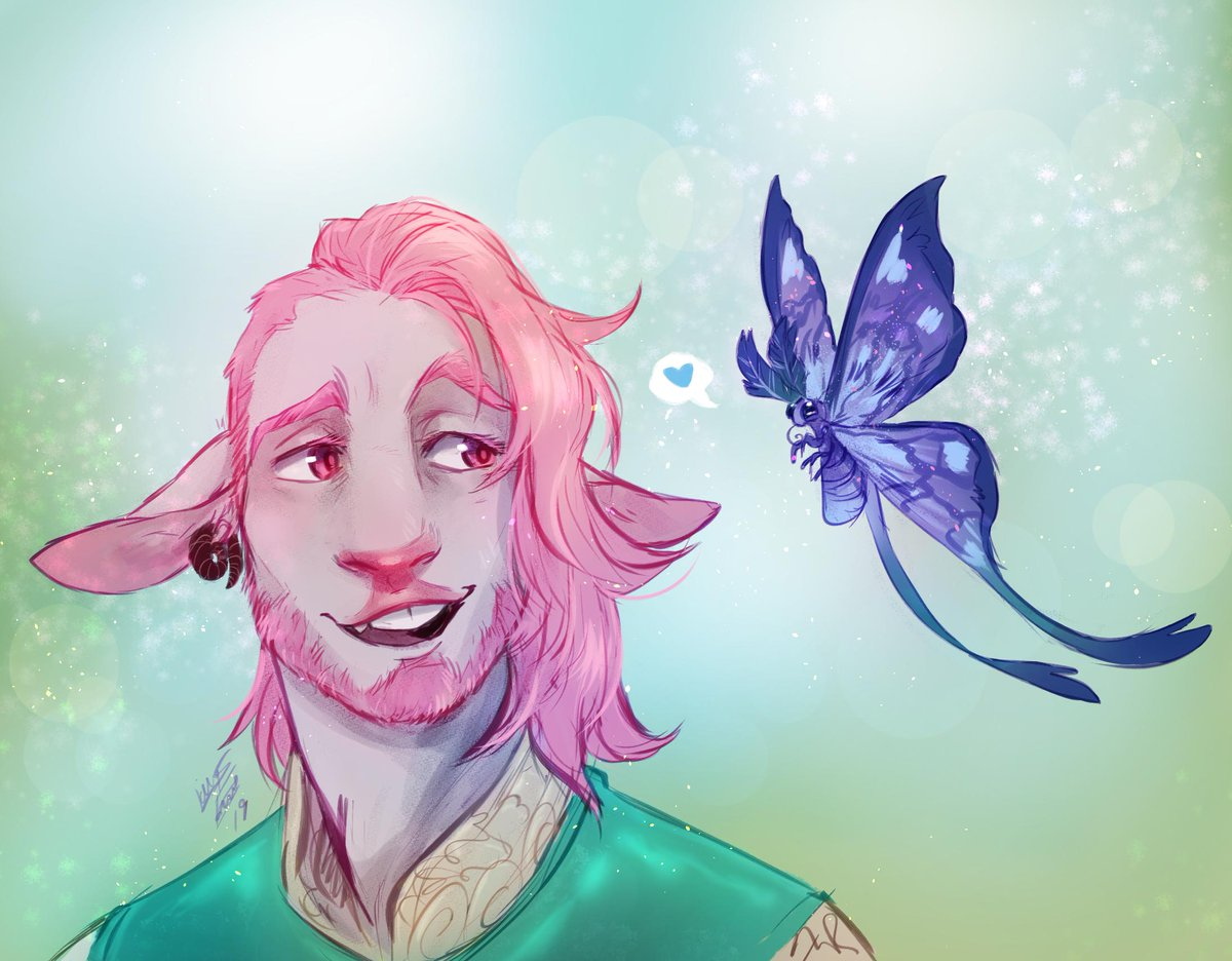 Finally tried my hand at drawing @executivegoth &#39;s lovely pink soft boy Caduceus, Feat. a little blue tief- I mean moth #CriticalRole #CriticalRoleArt<br>http://pic.twitter.com/JmZ2eRJSfN