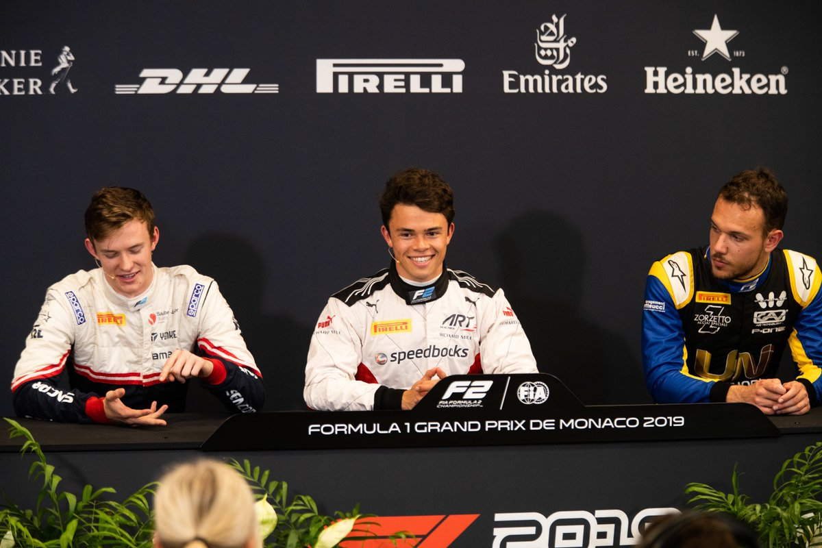 Round 4 Post Qualifying Press Conference 🎙️  They were the podium trio last time out in the Spain Sprint Race - now we get the thoughts of @nyckdevries, @luca_ghiotto and @callum_ilott again!  Get all the thoughts here 👉 https://tinyurl.com/y2cpcx9d   #MonacoGP 🇲🇨 #F2