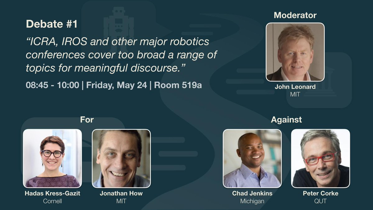 Is ICRA too broad? Has deep learning ruined robotics? Should robots be regulated like aircraft? Come hear leading roboticists debate these topics (+more) in room 519a on Friday at #ICRA2019! #RoboticsDebates #DeepLearning #Robotics  http:// roboticsdebates.org  &nbsp;  <br>http://pic.twitter.com/lmoG3R4jDG