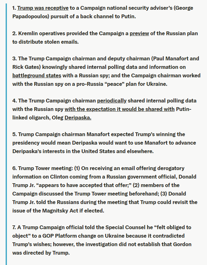 Wondering what President Donald Trump was trying to cover up, even if there was no provable crime of conspiracy?Here's a list of 14 major findings in Volume 1 of the #MuellerReport(I wrote up the list for this article: https://www.justsecurity.org/63838/guide-to-the-mueller-reports-findings-on-collusion/ …)