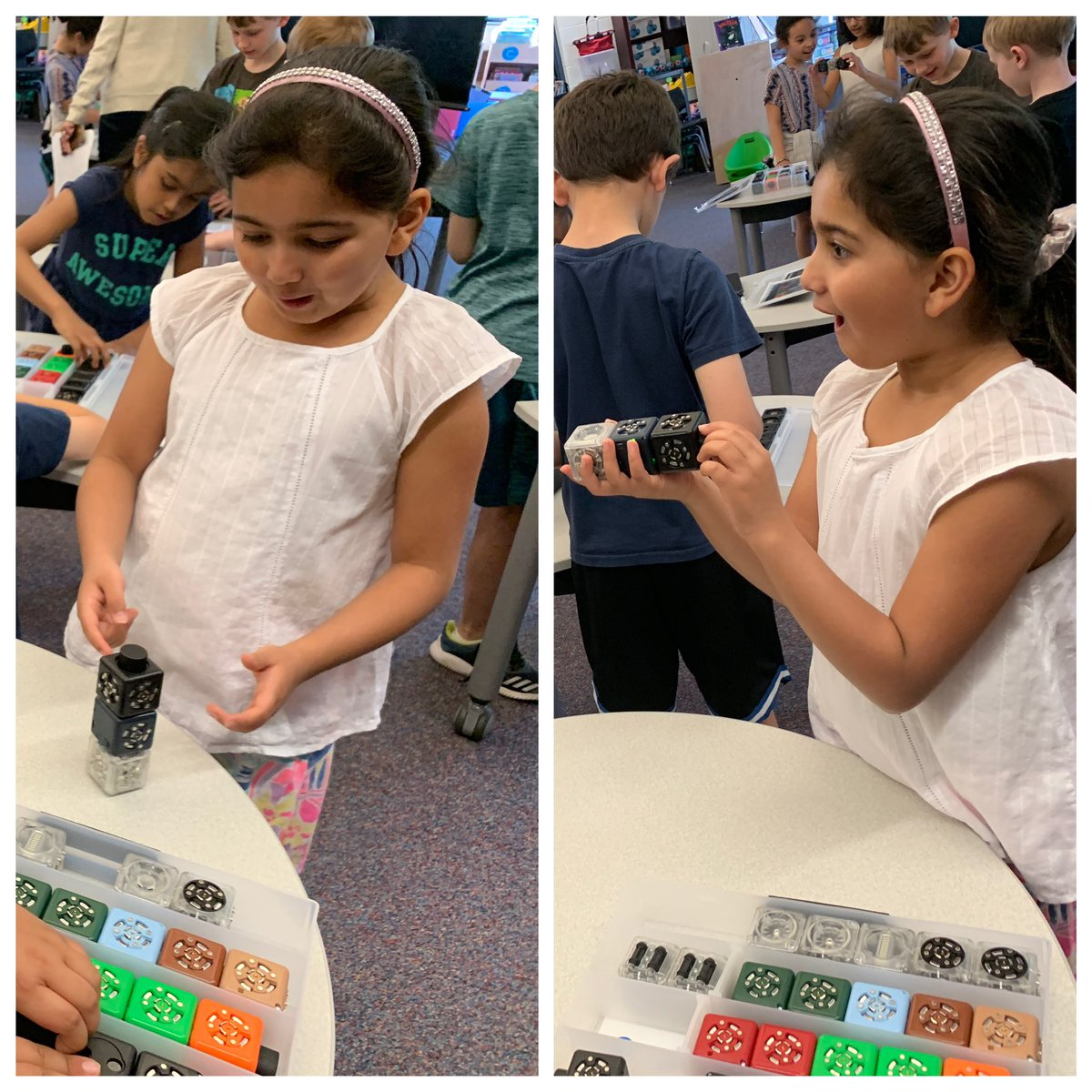Our #WBPandas are so focused and interested working with robots, using different sensors and action Cubelets! Their engagement and reactions tell it all! 🥰 #WeAreD34 @ReadFreeley @jenlynnelson