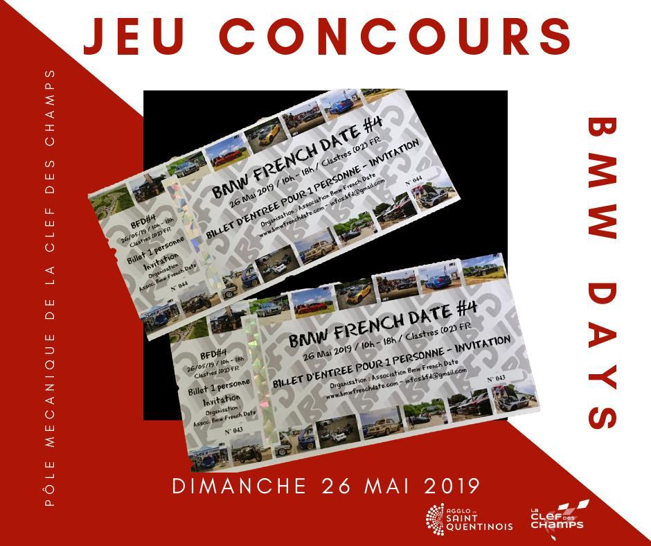 #JeuConcours Tentez de gagner 2 places pour le ◄ Bmw French Date #4 ► du 26 mai au Pôle Mécanique de la Clef des Champs (Circuit de Clastres) sur notre page Facebook : facebook.com/agglo.saintque… !! https://t.co/71XGjmScnk