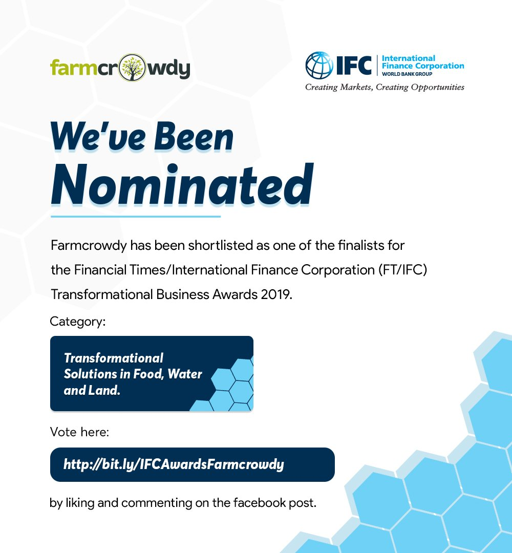 We are very excited to announce that Farmcrowdy, your favourite Agritech company has been shortlisted as one of the finalists for the Financial Times/International Finance Corporation (FT/IFC) Transformational Business Awards 2019.  Continue #Farmcrowdy  #FCIFCAwards #Agritech <br>http://pic.twitter.com/a8voU65VGF