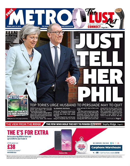 """Friday's Metro: """"Just tell her Phil""""  #BBCPapers #tomorrowspaperstoday (via @hendopolis)"""