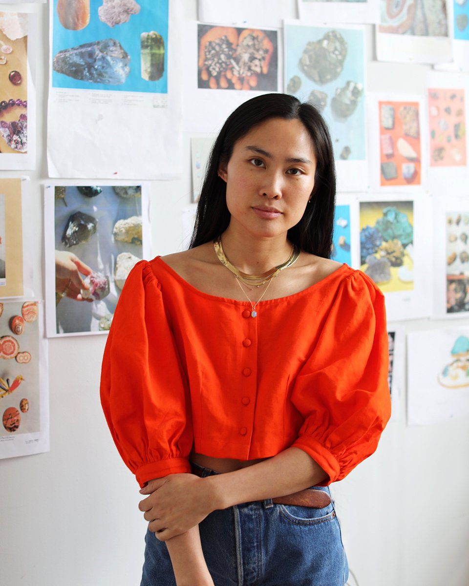 Otherworldly opals and other found objects star in Wing Yau's designs for WWAKE.  Head into her studio on today's story, then shop her goods on http://instagram.com/shop https://www.instagram.com/p/Bx0bcvHgI6G/