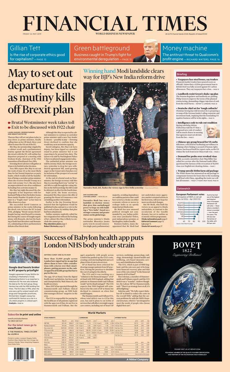 """Friday's FT: """"May to set out departure date as mutiny kills off Brexit plan""""  #BBCPapers #tomorrowspaperstoday (via @hendopolis)"""