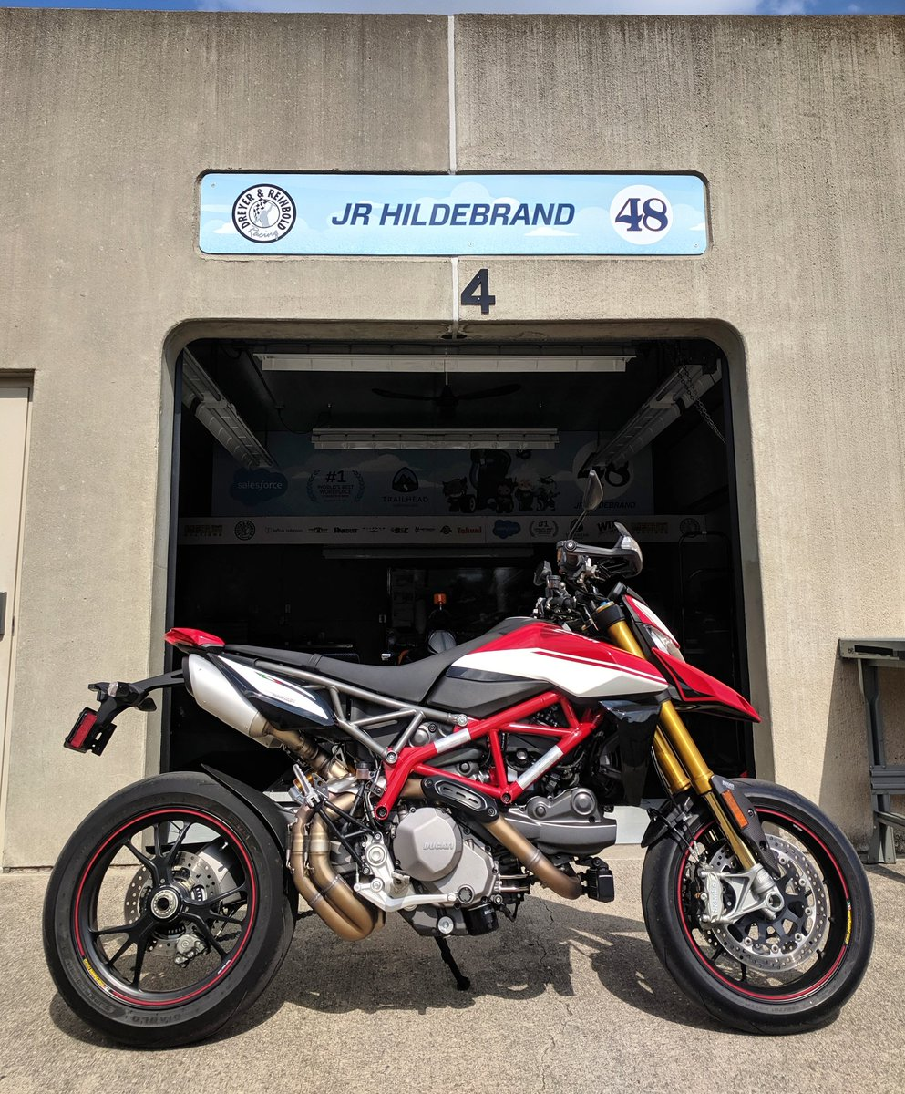 Been awesome to check out the @DucatiUSA Hyper SP when its not raining thanks to @indyducati, definitely a bike that would be at home in my CO canyons! Race bike in street clothing. Plus, feel like theres one of these in the @salesforce lobby in SF, right? #ducati #ThisIsMay