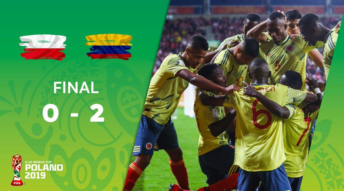 ¡Triunfo de Colombia! La Tricolor 🇨🇴 venció 2-0 a Polonia 🇵🇱 en su primera presentación en el Mundial Sub-20. #U20WC
