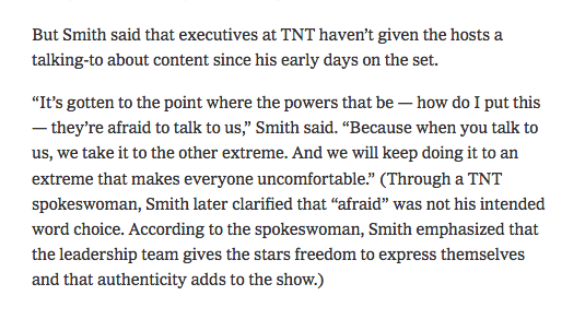 "NEW: TNT's Kenny Smith and I chatted about how Inside The NBA has become too big to fail: ""It's gotten to the point where the powers that be — how do I put this — they're afraid to talk to us. Because when you talk to us, we take it to the other extreme."" https://nyti.ms/2YHeE1Z"