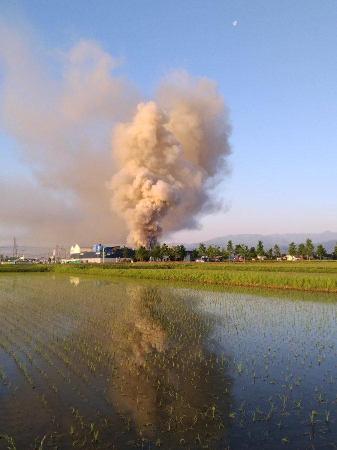 松本市のリサイクル工場「しんえこ」で火事の現場画像