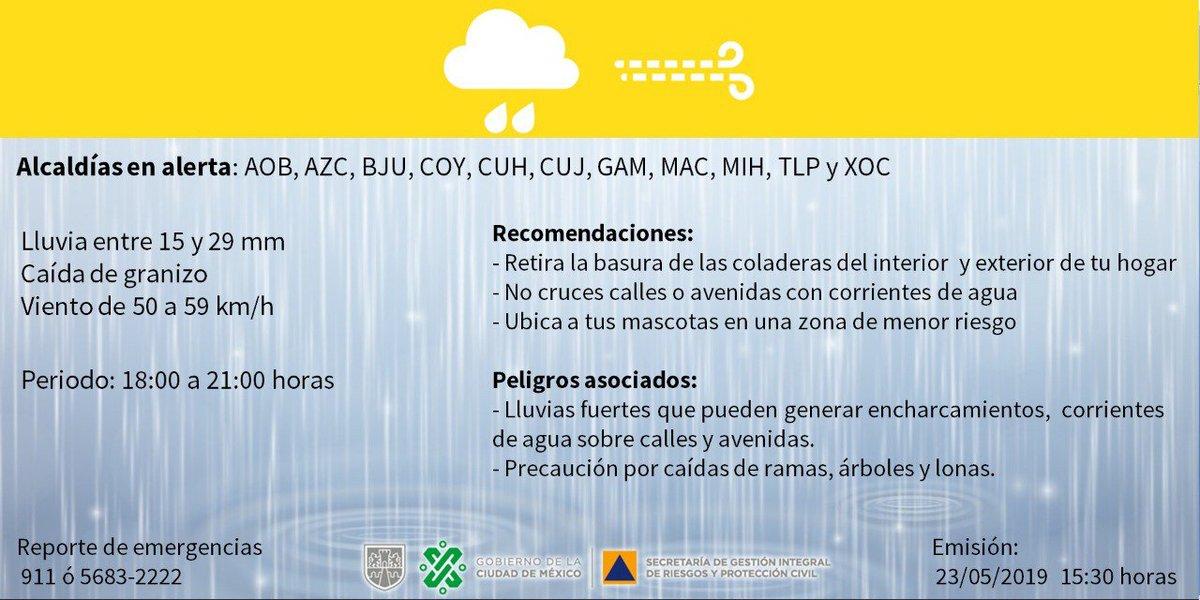 Se activa Alerta Amarilla por pronóstico de lluvia y viento fuerte, además de caída de granizo en las demarcaciones de @AlcaldiaAO @AzcapotzalcoMx @BJAlcaldia @Alcaldia_Coy @AlcCuauhtemocMx @AlcCuajimalpa @TuAlcaldiaGAM @ALaMagdalenaC @AlcaldiaMHmx @TlalpanAl y @XochimilcoAl .