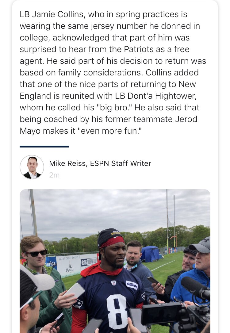 """LB Jamie Collins, who stressed that his family was a big part of his decision to return to New England, also is pleased to be back with """"big bro"""" Dont'a Hightower. <br>http://pic.twitter.com/TbHOU4n9U1"""