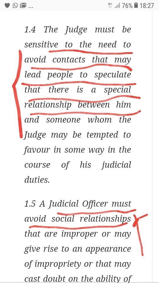 The Acting Chief justice of Nigeria has broken the judiciary code of conduct rules after visiting the Villa for an Iftar  This is what the judicial constitution quotes. <br>http://pic.twitter.com/fX1yJxCN2f