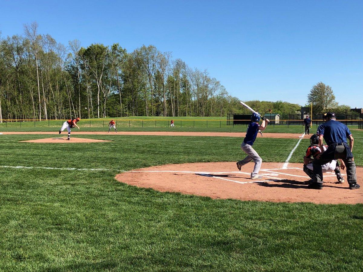 AHS freshman Wyatt Modzelewski throws the first pitch ever to senior Kyle Dalton on the new Armada Varsity Baseball Field. Mods also records the first strikeout & shutout inning. Tiger up! 🐅👍🏻⚾️