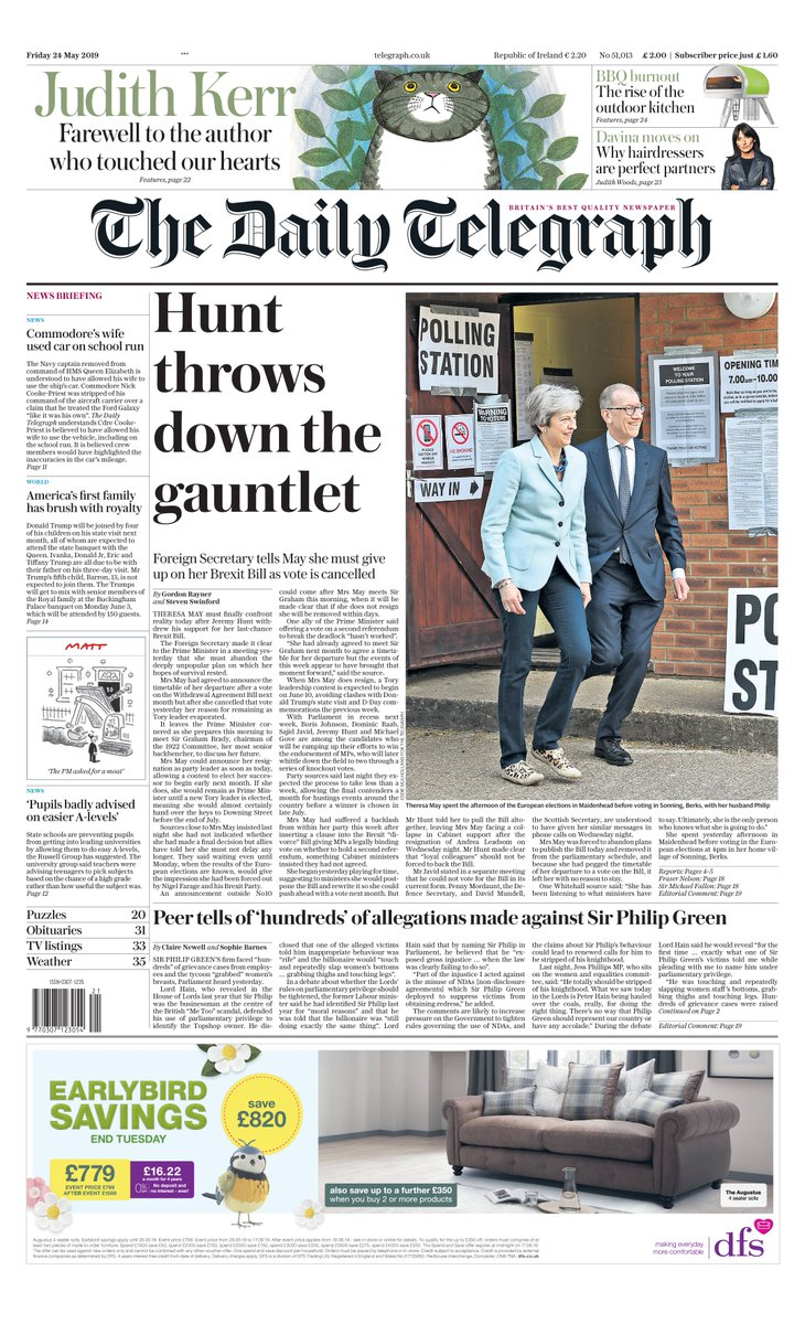 The front page of tomorrow's Daily Telegraph: 'Hunt throws down the gauntlet' #tomorrowspaperstodayhttps://www.telegraph.co.uk/politics/2019/05/23/theresa-mays-day-destiny-arrives-ministers-withdraw-support/…