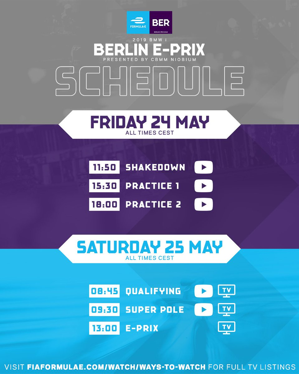 This is your schedule for the #BerlinEPrix race weekend 👍 #ABBFormulaE
