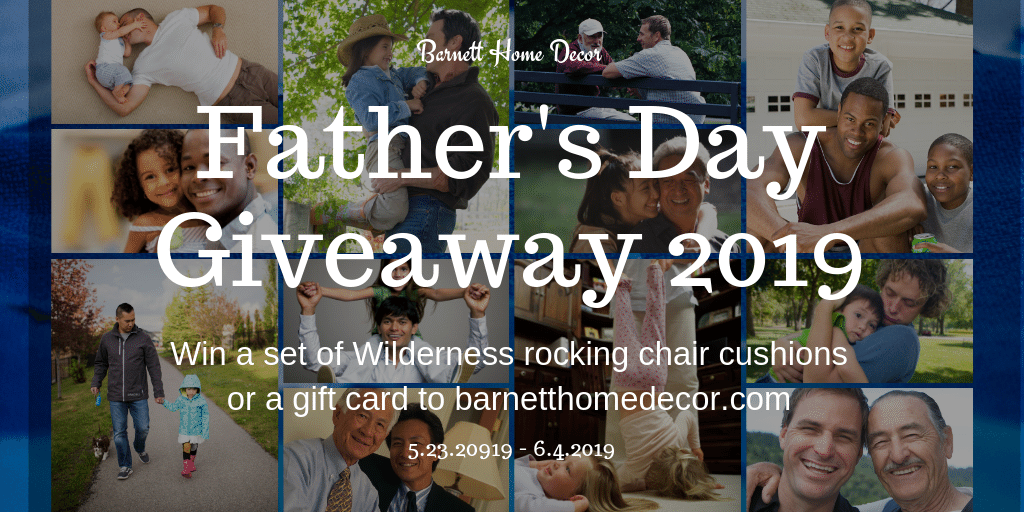 Enter to win a set of 🐻 Wilderness 🦌 rocking chair cushions for Dad in the Barnett Home Decor 2019 👨‍👦‍👦Father's Day 👨‍👧Giveaway 2019! (Ends June 6) {US 48} https://barnetthomedecor.com/blogs/bulletin/fathers-day-giveaway-2019 …  #giveaways #fathersday