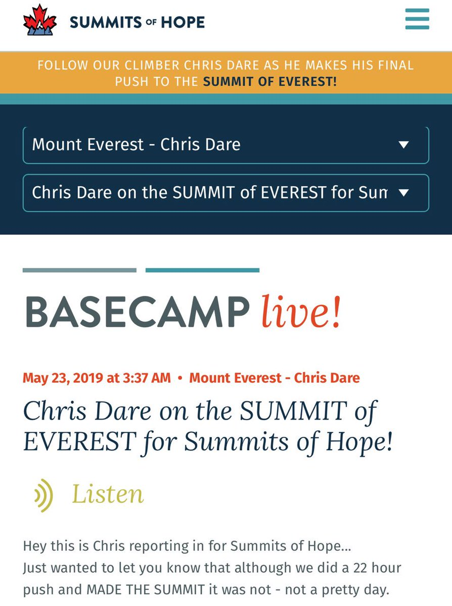 Summits of Hope climber Chris Dare has MADE THE SUMMIT OF MOUNT EVEREST and is now back in camp three resting.   We are so proud of Chris - he has helped us reach our goal of flying #SummitsofHope prayer flags from the highest point on Earth.  https://summitsofhope.com/baseCampLive