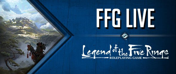Today on #FFGLive we're running a live play of #L5RRPG! We're going live in just about 60 minutes. Don't miss it!  View on Twitch https://www.twitch.tv/ffglive or YouTube https://www.youtube.com/user/FantasyFlightStudio…