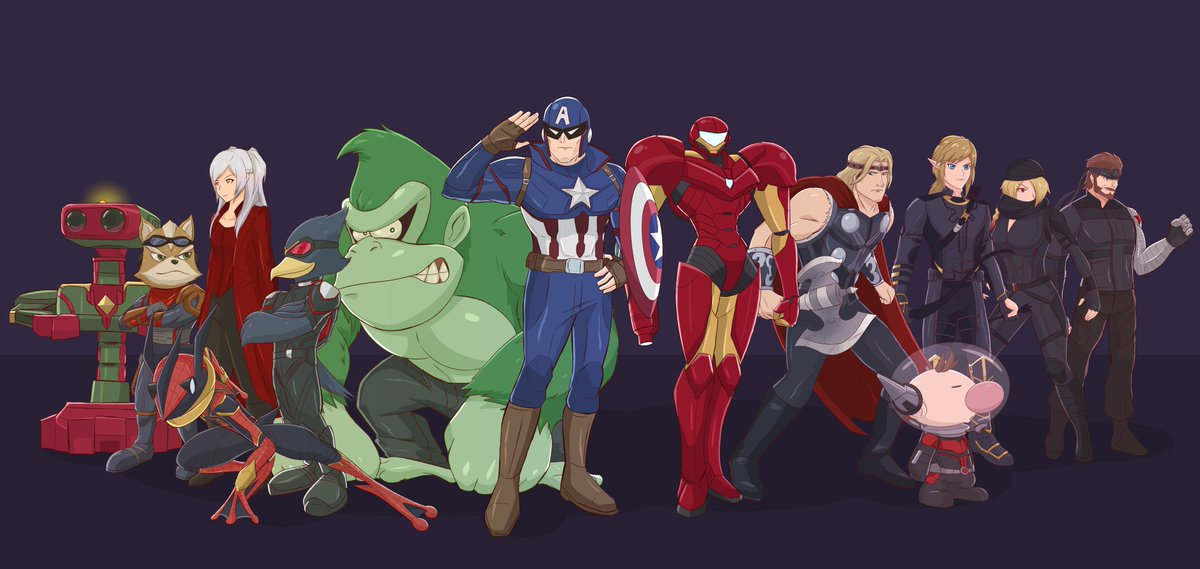 Smash Brothers... ASSEMBLE! Wish I could do everyone but I&#39;m satisfied to call this mini series complete.  #SuperSmashBros #Avengers  #Endgame  #nintendo<br>http://pic.twitter.com/zs4ejFAV6R