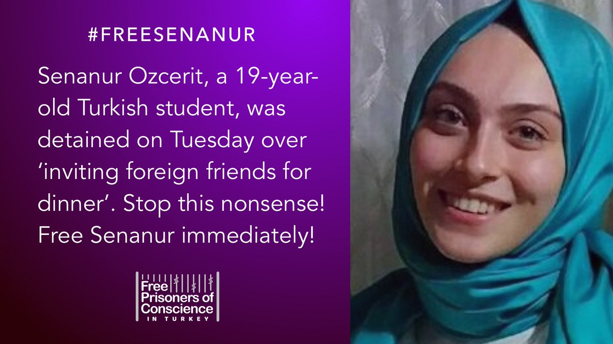 Yet another day in madness in Erdogan&#39;s Turkey. Senanur Ozcerit was detained on grounds for suspicious activity by inviting her foreigner friends over dinner.  #FreeSenanur<br>http://pic.twitter.com/aDI91bxmm4