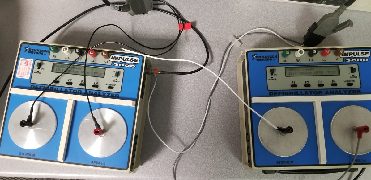 These two Dyantech Nevada Defib Analyzers can each measure energy input up to 1KV on the high setting and 200 V on the low setting. They were used to ensure adequate energy delivery. 3/16  #FOAMed #FOAMcc #FOAMems<br>http://pic.twitter.com/WhBh1UBvHo
