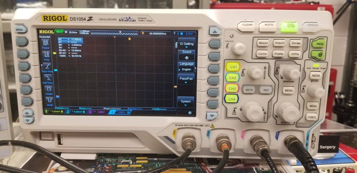 Next is the oscilloscope. This device is used to display, analyze and measure the waveforms of currents &amp; electrical signals. It can measure values down to the nanosecond and beyond in some models.  4/16  #FOAMed #FOAMcc #FOAMems  @adrmurphy<br>http://pic.twitter.com/yP0ePw0TJQ
