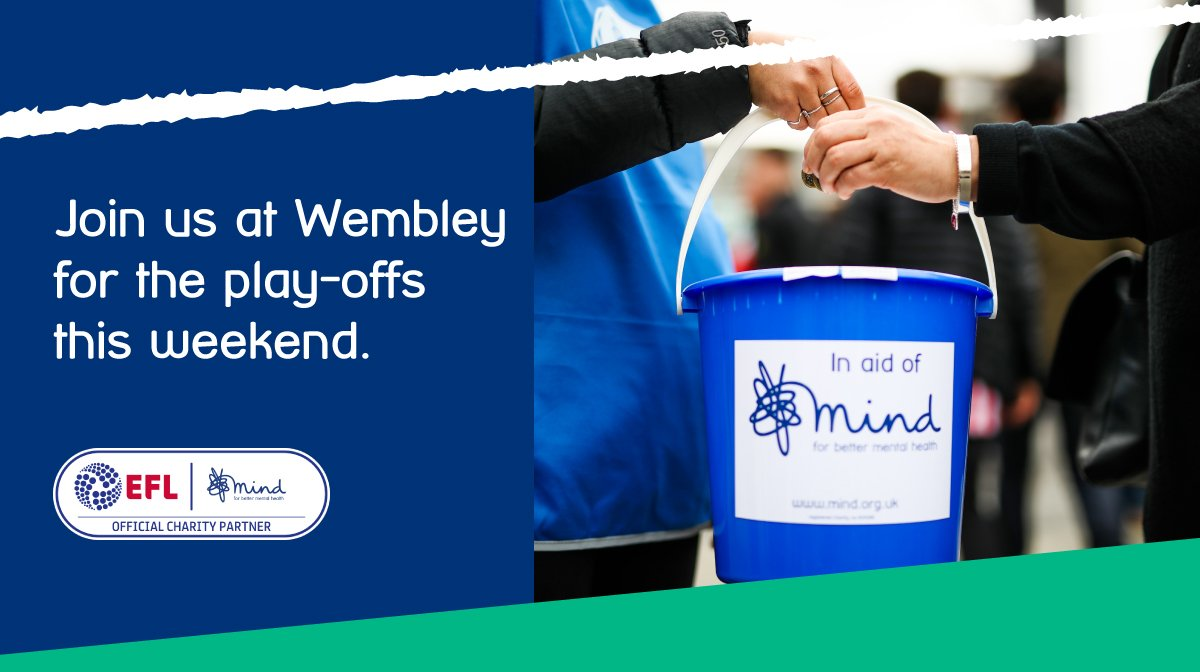 Through our @EFL partnership, we're heading to the play-off finals at Wembley this weekend. #OnYourSide  We're looking for last minute volunteers (who will get a free ticket) for @NewportCounty v @TranmereRovers & @CAFCOfficial v @SunderlandAFC.  Sign up > http://mind.org.uk/footballvolunteers…