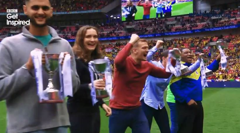 """""""It's a dream come true"""" Miss the #FAPeoplesCup champions collecting their trophies on the Wembley pitch during the #FACupFinal? Watch it again here http://bbc.in/2HsQyCn#GetInspired @FA"""