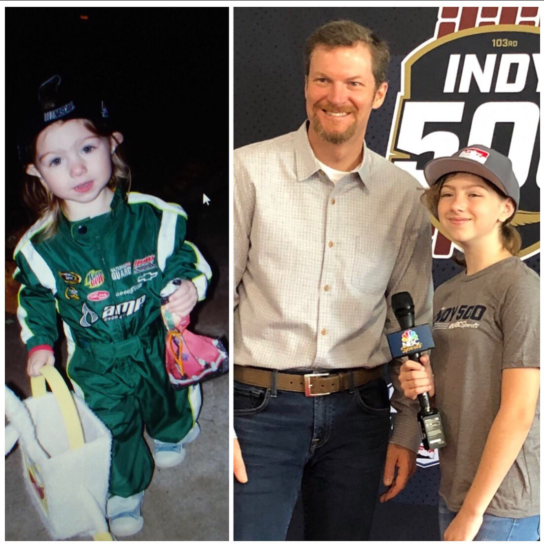 From my 1st Halloween to today, @dalejr fan for life! Thanks for being my first professional interview for @indycaronnbc! See you @DISupdates in July #DaleJr!