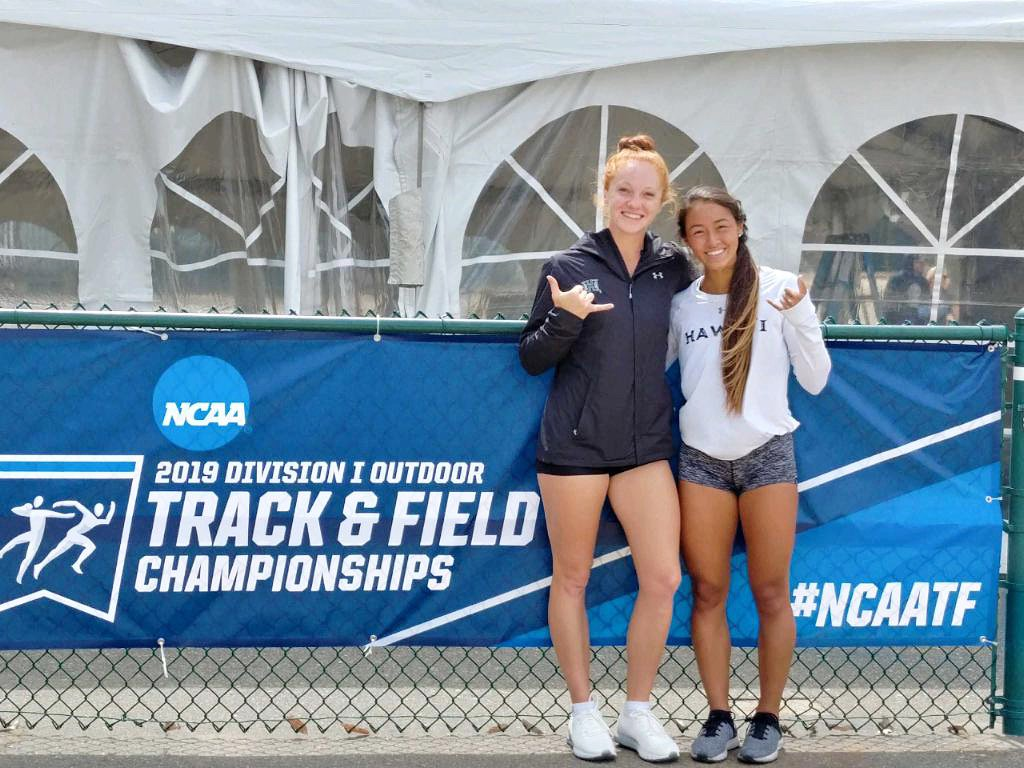 Alexis Brenzil (javelin) and Kristen LaCosse (400m hurdles) will both compete today at the NCAA West Prelims in Sacramento    Wishing the best of luck to our Rainbow Wahine!  #HawaiiTF | #GoBows | #NCAATF<br>http://pic.twitter.com/ASRKny61AM
