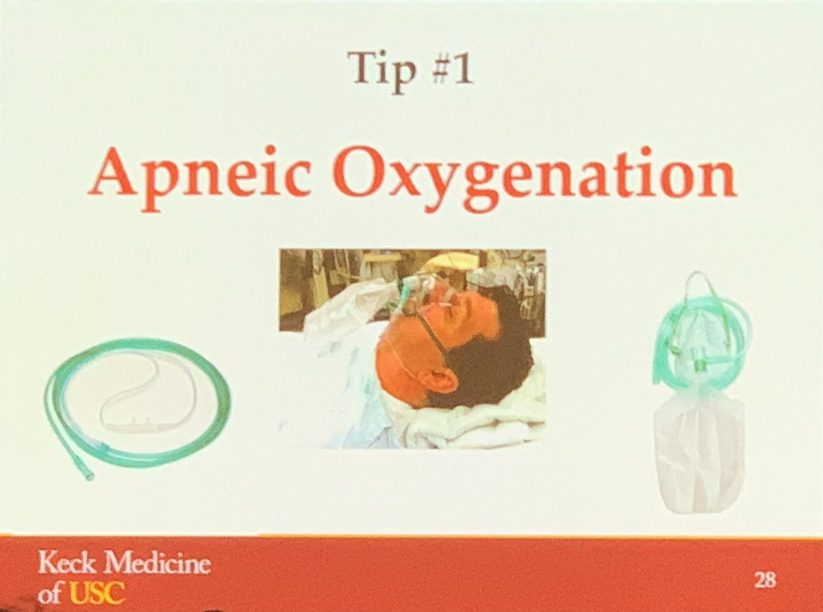Dr Chudnofsky of LAC+USC trauma airway tips:  1 Apneic oxygenation 2 sniffing position or ramped to 45 if obese 3 use a bougie 4 use vídeo assist if Cspine immobilized #trauma #Lacusc #emergencymedicine @LACUSCMedCenter @lacuscdem #usctraumaconference<br>http://pic.twitter.com/2QAwArpdyh &ndash; à Langham Huntington Hotel