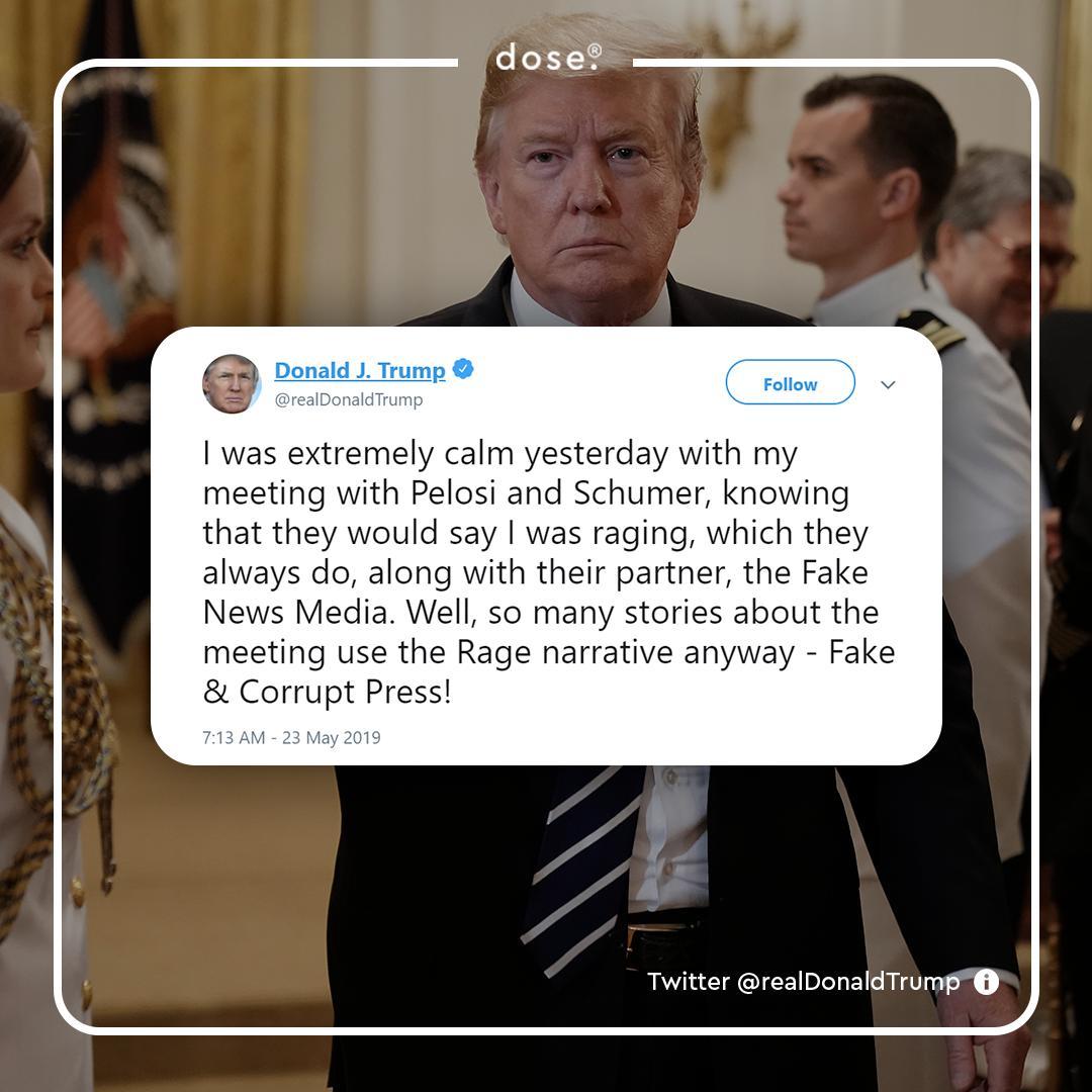 President Trump denies House Speaker Nancy Pelosi's accusations of him having a 'temper tantrum' over Democratic investigations on Wednesday.