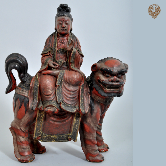 Antique Chinese Buddha Deity Foo Dog Statue/Sculpture, c. 1850.  https://bloomsburypdx.com/collections/decorative-arts/products/lacquer…  #antique  #chinese #buddha #deity #riding #foodog #statue #sculpture #lacquer #carved #decorativearts #chineseart #antiques #art  #decorative #decorativeart  #artgallery #pdx #pdxantiques