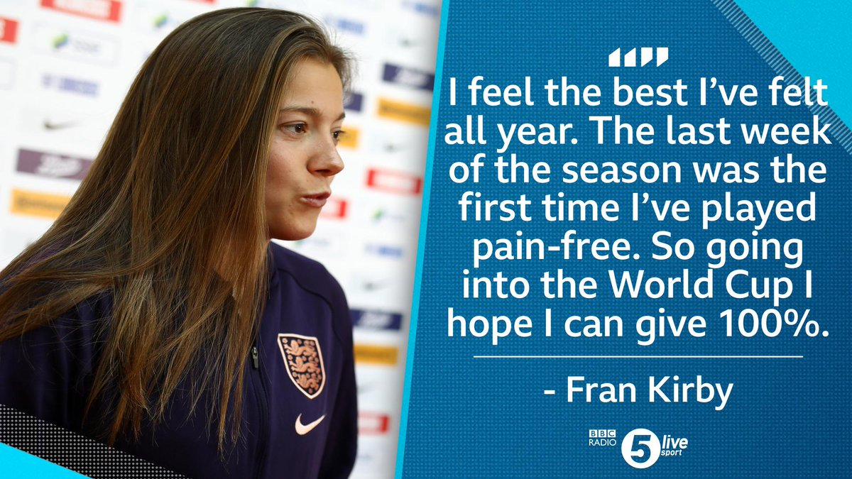 After an injury-plagued season, @frankirby is ready for the #WWC2019.  We're inside the @England camp with the #Lionesses.  Listen live:  📲http://bbc.in/2AhzsDX