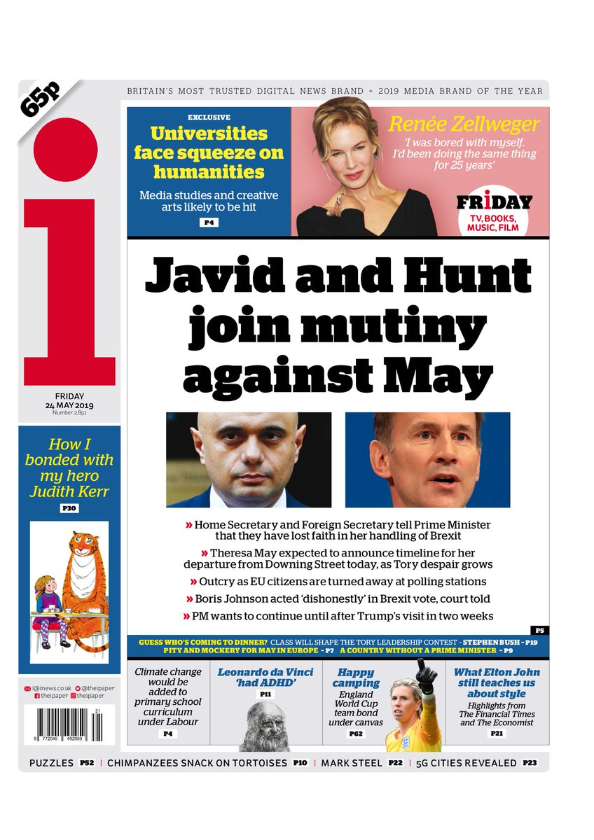 """Friday's i: """"Javid and Hunt join mutiny against May""""  #BBCPapers #tomorrowspaperstoday (via @hendopolis)"""