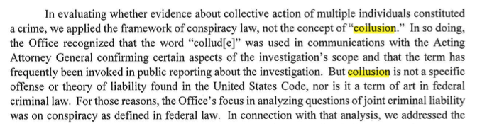 Well, to be fair to @SHSanders45, you do have to read all the way to Page 2 of the Mueller report to see he does not reach a conclusion on &quot;collusion.&quot; <br>http://pic.twitter.com/FVMJyZHNUl