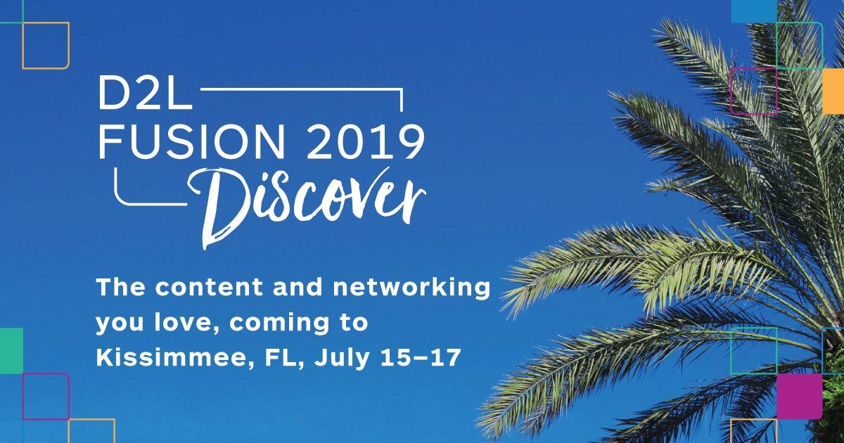 ¡Del 15-17 de julio estaremos en Kissimmee, Florida! No se pierda la oportunidad de participar en el evento global de la D2L FUSION 2019. ¡Usted no querrá quedarse fuera! http://ow.ly/mrFd30oOdqD