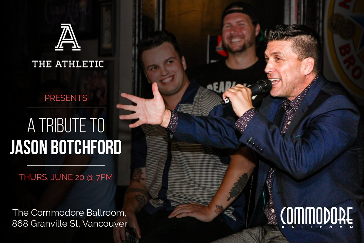 Please join us for a tribute to our dear friend and colleague Jason Botchford at the @commodorevcr on June 20. The evening includes a panel with @PierreVLeBrun, @mirtle, @CraigCustance, @DownGoesBrown and more, plus an audience Q&A, music and comedy.  🎟️: https://bit.ly/2Wih5dS