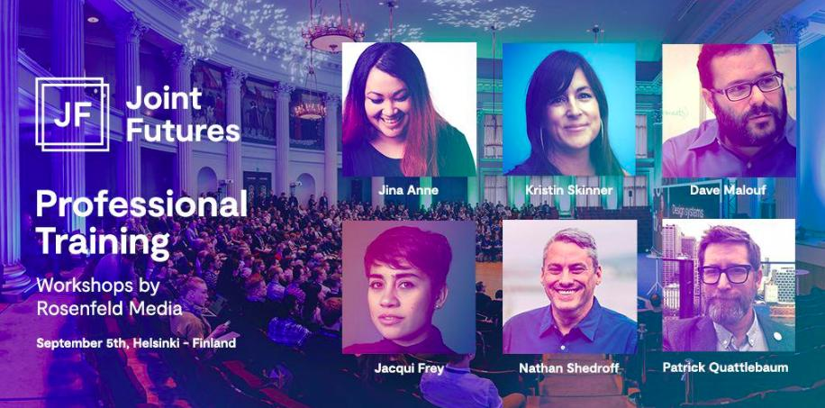 Weve partnered with @jointfutures to offer six workshops with @jina, @bettay, @daveixd, @FreyJacqui, @nathanshedroff, @ptquattlebaum. Learn more & secure your tickets: rfld.me/2Ev6X7c