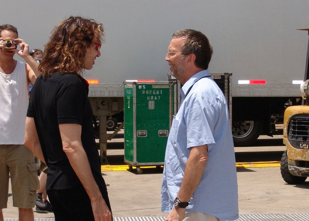 #TBT Caption this Photo! Talking to @EricClapton at the Crossroads Guitar Festival.