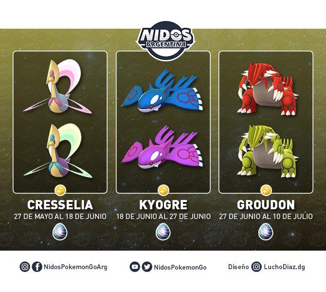 Imagen de Kyogre, Groudon y Cresselia y sus versiones shiny hecho por Nidos Pokémon GO Argentina